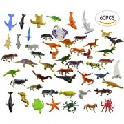 60 PCS different Acmer Mini Jungle Animals Toys Set,Realistic Wild Vinyl Pastic Animal Learning Party Favors Toys For Boys Girls Kids Toddlers Forest Small Animals Toys