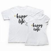 Set 2 Tricouri Cuplu Happy Life and Wife