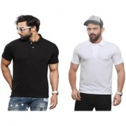 Kundan Sulz Gwalior's Exclusive for Men's 100% Pure-Cotton Polo Neck T-Shirt-Black & White ( Pack of 2 T Shirt )