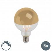 Calex Set di 5 lampadine a LED a filamento specchio dorato E27 240V 4W 280lm 2300K G95 dimmerabile