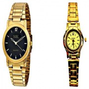 Sonic Black Round Dial Men And Golden Round Dial Ladies Watches