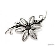 Jubileo.pl BROSZKA DUŻY SREBRNY KWIAT kwiaty kolor stare srebro