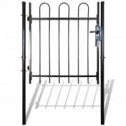 vidaXL Single Door Fence Gate with Hoop Top 100 x 100 cm