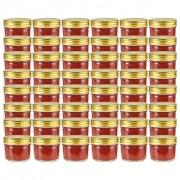 vidaXL Стъклени буркани за сладко със златисти капачки, 48 бр, 110 мл