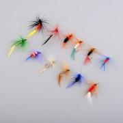 Duola 12pcs varios ganchos de la mosca seca combatir moscas salmón gancho Señuelos de pesca nuevo