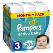 Pampers pelene Pleny Active Baby 3 Midi, 208 kom