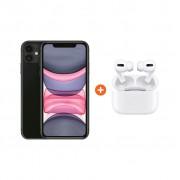 Apple iPhone 11 128 GB Zwart + Apple AirPods Pro met Draadloze Oplaadcase