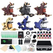 Dragonhawk Complete Tattoo Kit 6Pcs Coils Tattoo Machines Gun Immortal Tattoo Inks Power Supply Needles Grips Tips Foot Pedal Clip Cord with Carry Case 5-3N