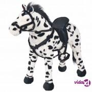 vidaXL Stojeća igračka plišani konjić crno-bijeli XXL