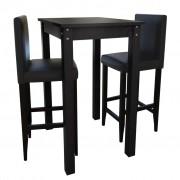 vidaXL Barový stůl a 2 barové židle, černá
