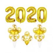 NUOBESTY Globos 2020 Globos de látex de año Nuevo Globos de Nochevieja Decoraciones para Fiestas Suministros 16 Pulgadas (Dorado)