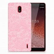 B2Ctelecom Nokia 1 Plus TPU Case White Flowers