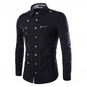 Estilo Militar Camiseta Slim Fit Marca De Manga Larga Para Los Hombres (Negro)