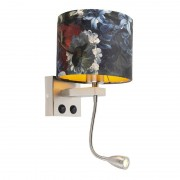 QAZQA Wall lamp steel with velor shade flowers with gold - Brescia