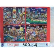 Ceaco City Lights 4 X 500 Piece Puzzles (New York Las Vegas Miami Atlantic City)