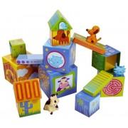 DJECO Klocki dla dzieci domki ze zwierzątkami - kartonowe klocki piramida Caubanimo,