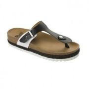 !Választható ajándékkal! Scholl Idylla fekete fehér bioprint női lábujjközi papucs - kényelmi modell 37-39