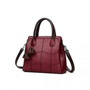 see something handbags Bolsos de lujo de piel sintética para mujer, Burgundy, Talla unica