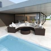 vidaXL vidaXL Set mobilier de grădină, 17 piese, semirotund, poliratan, maro