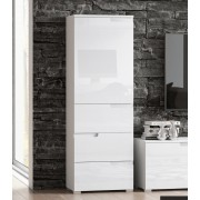 Santino White Gloss Slim Storage Unit With Cupboard and Drawers