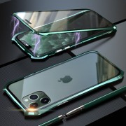 LUPHIE Bat Style Magnetic Installation Metal Frame + Tempered Glass Phone Casing for iPhone 11 Pro 5.8 inch - Green