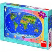 Puzzle clasic pentru copii 300 piese- Harta Lumii XL