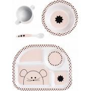 Lässig Lässig servies-setje met silicone little chums muis licht rose