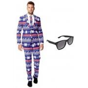 Heren kostuum / pak met rendier print maat 52 (XL) - met gratis zonnebril