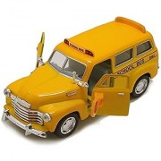 Morgan Sellers 136 Chevrolet Die Cast Metal School Bus Toy for Kids (Pull back friction)