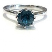 Natural Stone Blue Topaz Ring Original & Effective Stone Topaz Silver Plated Ring By Jaipur Gemstone