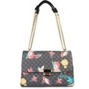 Shoetopia Handbag-Flower-Print-Black Multicolor Shoulder Bag
