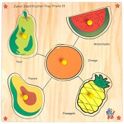 Skillofun Wooden Junior Identification Tray Fruits II with Knobs, Multi Color