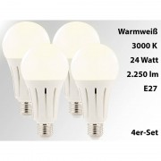 Luminea High-Power-LED-Lampe E27, 24 Watt, 2.250 Lumen, 3000 K, 4er-Set