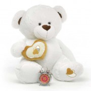 White 5 Feet Big Teddy Bear with a heart