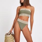 River Island Womens Khaki rib elastic high leg bikini bottoms (Size 8)