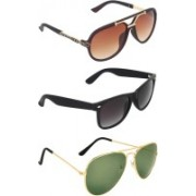 Zyaden Rectangular, Wayfarer, Aviator Sunglasses(Brown, Green, Black)