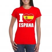 Shoppartners Rood I love Spanje fan shirt dames
