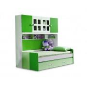 Pat Mercur din MDF cu pat suplimentar sau sertar depozitare, dulap 4 usi si etajera pentru camera copii -801V