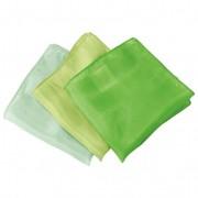 Set doekjes van biologische zijde, groen-tinten l 27 x b 27 cm