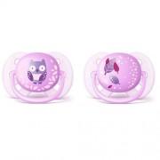 Avent Lot de 2 Sucettes ultra soft fille violet 0-6 mois