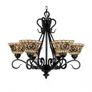 Elk 366-Va Tiffany Buckingham Lámpara de araña de 6 luces, 66 cm, estilo clásico antiguo con vidrio estilo Tiffany