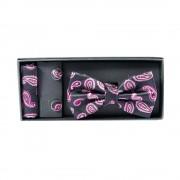 Set elegant, negru, cu trei accesorii masculine, model roz