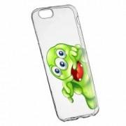 Husa Silicon Transparent Slim Green Monster Apple iPhone 6 PLUS 6S PLUS