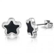 Ezüst színű, csillag alakú nemesacél fülbevaló, fekete színű dísszel