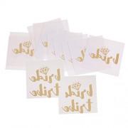 Segolike 12/set Flash Gold/Silver Wedding Bachelorette Team Bride Groom Temporary Tattoos Stickers - gold, 1