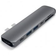 Adaptor Satechi Hub Pro pentru Apple MacBook Pro 2016/2017/2018, 13'/15', USB Type C, HDMI 4K, Card SD, Space Gray
