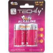 Techly Blister 2 Batterie Power Plus Mezza Torcia C Alcaline LR14 1,5V