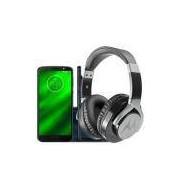 Smartphone Motorola Moto G6 Plus Índigo + Fone de Ouvido Motorola Moto Pulse Max - Preto