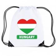 Bellatio Decorations Hongarije hart vlag nylon rugzak wit
