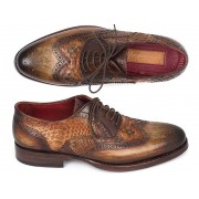 Paul Parkman Genuine Python Goodyear Welted Calfskin Wingtip Oxford Shoes Camel & Brown 27PT-CMLBRW